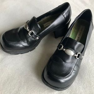 LOWER EAST SIDE Black Chunky Heel Loafers